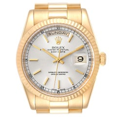 Rolex President Day-Date Silver Dial Yellow Gold Men's Watch 118238