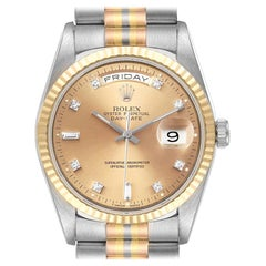 Rolex President Day-Date Tridor White Yellow Rose Gold Diamond Watch 18239