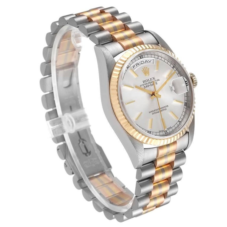 Rolex President Day-Date Tridor White Yellow Rose Gold Mens Watch 18239 In Excellent Condition For Sale In Atlanta, GA