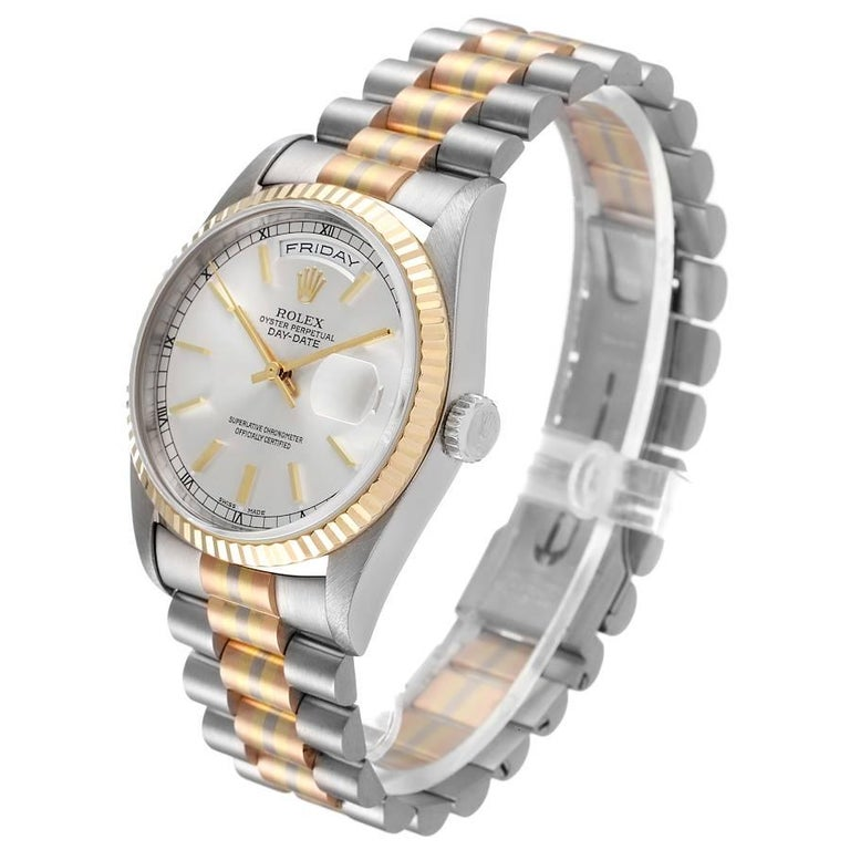 Men's Rolex President Day-Date Tridor White Yellow Rose Gold Mens Watch 18239 For Sale