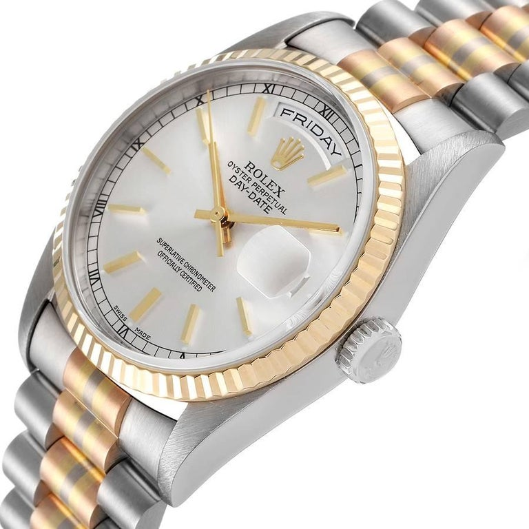 Rolex President Day-Date Tridor White Yellow Rose Gold Mens Watch 18239 For Sale 1