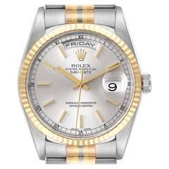 Rolex President Day-Date Tridor White Yellow Rose Gold Mens Watch 18239