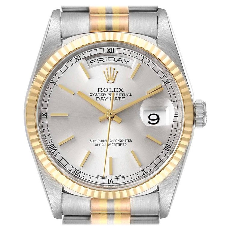 Rolex President Day-Date Tridor White Yellow Rose Gold Mens Watch 18239 For Sale