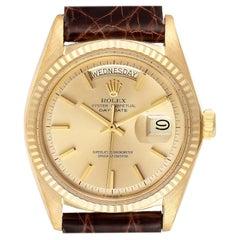Rolex President Day-Date Vintage Yellow Gold Brown Strap Men's Watch 1803