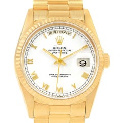 Rolex President Day Date White Dial Yellow Gold Watch 18238 Box Papers