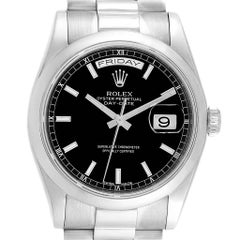 Rolex President Day-Date White Gold Black Dial Men's Watch 118209