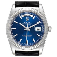 Rolex President Day-Date White Gold Blue Dial Men's Watch 118139
