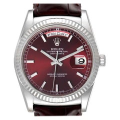 Rolex President Day-Date White Gold Burgundy Dial Watch 118139 Box Card