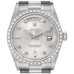 Rolex President Day-Date White Gold Diamond Dial Bezel Watch 18049