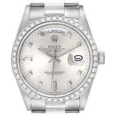 Rolex President Day-Date White Gold Diamond Dial Bezel Watch 18049