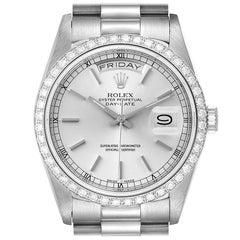 Rolex President Day-Date White Gold Diamond Dial Bezel Watch 18349