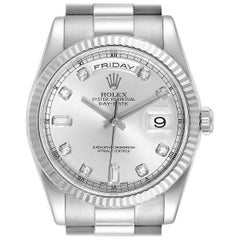 Rolex President Day-Date White Gold Diamond Men's Watch 118239 Box Papers