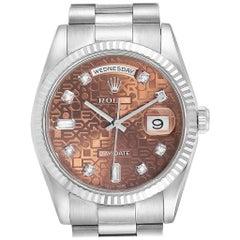 Rolex President Day-Date White Gold Diamond Men's Watch 118239 Unworn