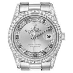 Rolex President Day-Date White Gold Myriad Diamond Men's Watch 18389