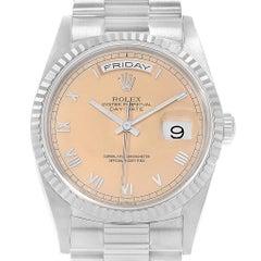 Rolex President Day-Date White Gold Salmon Roman Dial Men's Watch 18239