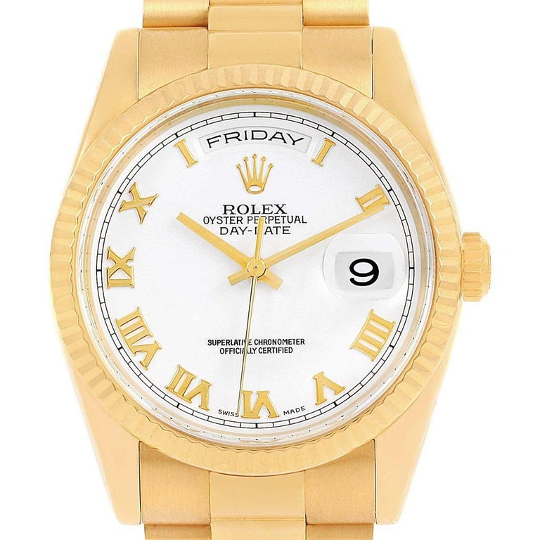 16df37e9c8f60 Rolex President Day Date White Roman Dial Yellow Gold Watch 118238 In  Excellent Condition For Sale