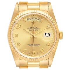 Rolex President Day-Date Yellow Gold Arabic Dial Men's Watch 18238 Tag