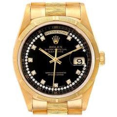 Rolex President Day-Date Yellow Gold Bark Diamond Dial Men's Watch 18248