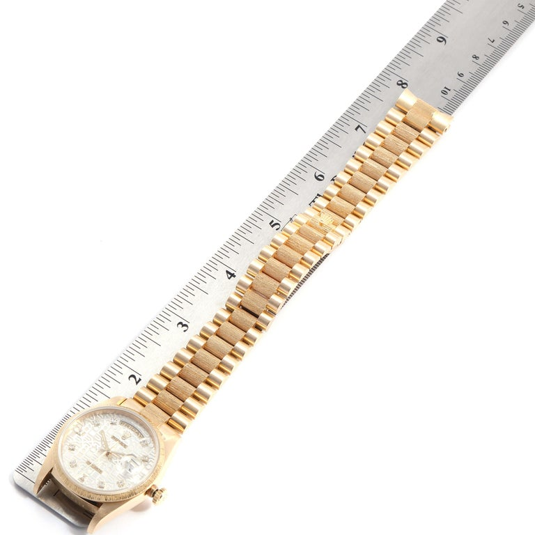 Rolex President Day-Date Yellow Gold Bark Finish Diamond Men's Watch 18248 For Sale 7