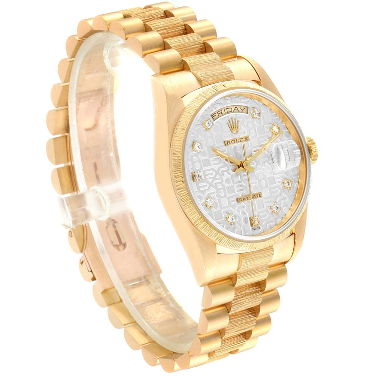 Rolex President Day-Date Yellow Gold Bark Finish Diamond Men's Watch 18248 In Excellent Condition For Sale In Atlanta, GA