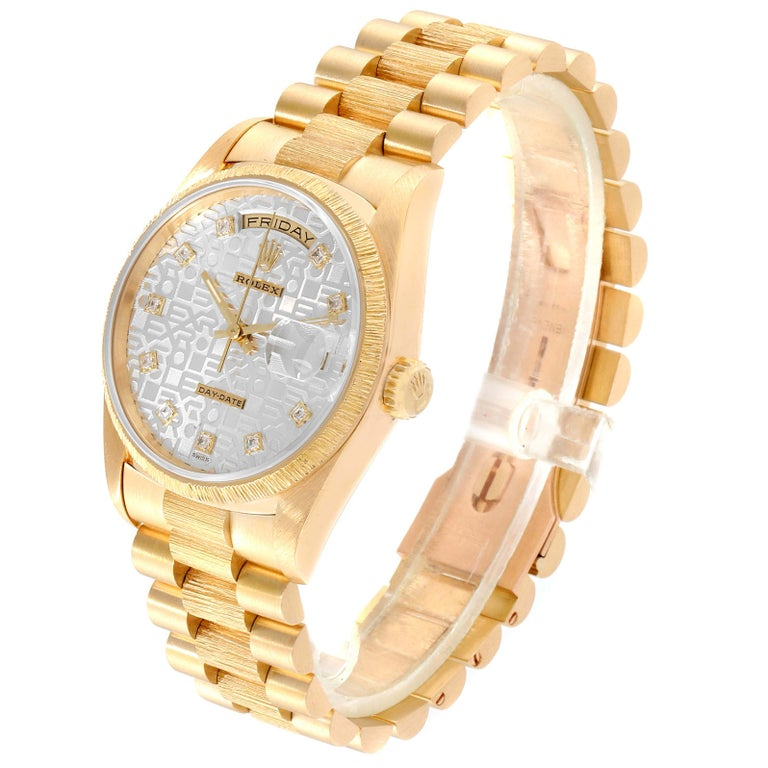 Rolex President Day-Date Yellow Gold Bark Finish Diamond Men's Watch 18248 For Sale 1