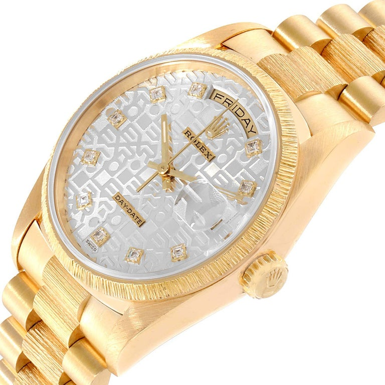 Rolex President Day-Date Yellow Gold Bark Finish Diamond Men's Watch 18248 For Sale 2