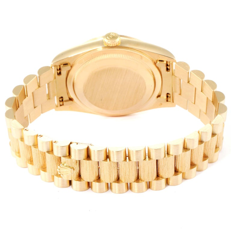 Rolex President Day-Date Yellow Gold Bark Finish Diamond Men's Watch 18248 For Sale 5