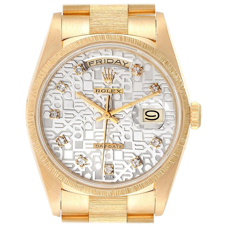 Rolex President Day-Date Yellow Gold Bark Finish Diamond Men's Watch 18248 For Sale