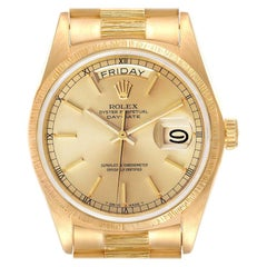 Rolex President Day-Date Yellow Gold Bark Finish Mens Watch 18078