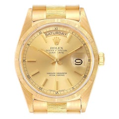 Rolex President Day-Date Yellow Gold Bark Finish Men's Watch 18078 Papers