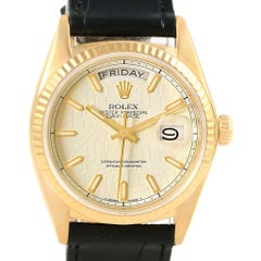 Rolex President Day-Date Yellow Gold Black Dial Men's Watch 18038