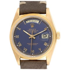 Rolex President Day Date Yellow Gold Black Dial Men's Watch 18078