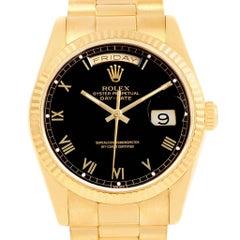 Rolex President Day-Date Yellow Gold Black Roman Dial Men's Watch 18238