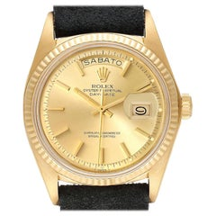 Rolex President Day-Date Yellow Gold Black Strap Vintage Mens Watch 1803