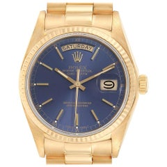 Rolex President Day-Date Yellow Gold Blue Dial Men's Watch 18038