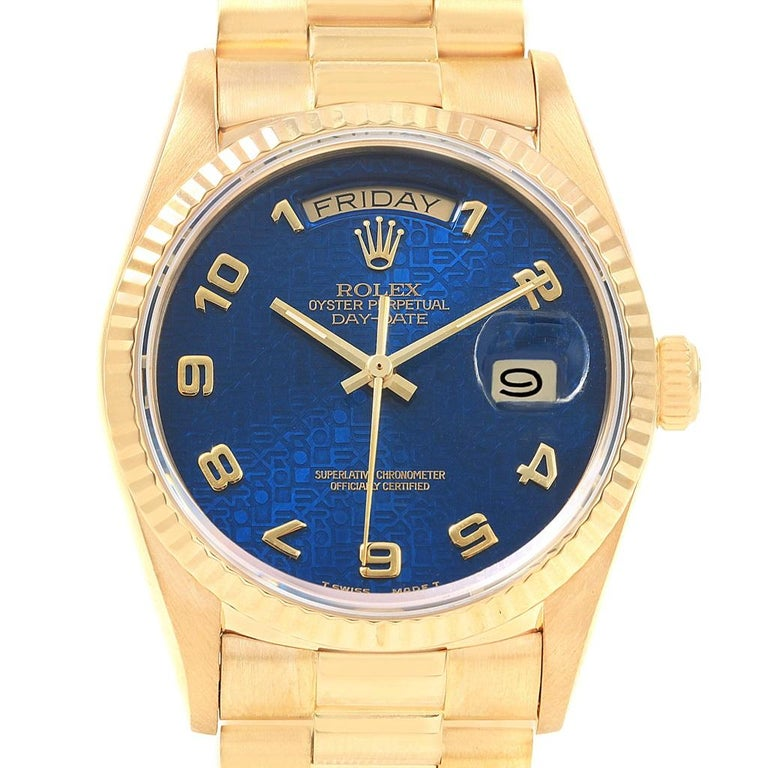 Rolex President Day Date Yellow Gold Blue Jubilee Dial Men S Watch 18238