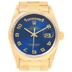 Rolex President Day-Date Yellow Gold Blue Jubilee Dial Men's Watch 18238