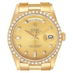 Rolex President Day-Date Yellow Gold Diamond Bezel Watch 18048