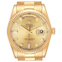 Rolex President Day-Date Yellow Gold Diamond Dial Men's Watch 118238