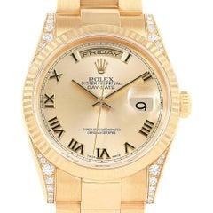 Rolex President Day Date Yellow Gold Diamond Lugs Men's Watch 118338