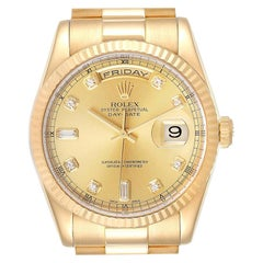 Rolex President Day Date Yellow Gold Diamond Men's Watch 118238 Box