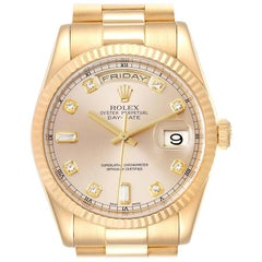 Rolex President Day Date Yellow Gold Diamond Men's Watch 118238 Box Papers