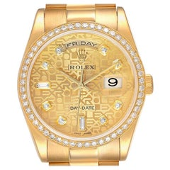 Rolex President Day Date Yellow Gold Diamond Men's Watch 118348