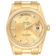 Rolex President Day-Date Yellow Gold Diamond Men's Watch 18238 Box