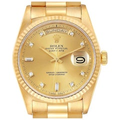 Rolex President Day-Date Yellow Gold Diamond Men's Watch 18238 Box