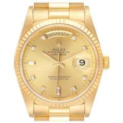 Rolex President Day-Date Yellow Gold Diamond Men's Watch 18238