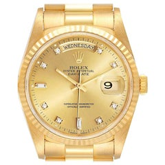 Rolex President Day-Date Yellow Gold Diamond Mens Watch 18238