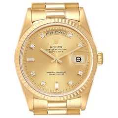 Rolex President Day-Date Yellow Gold Diamond Men's Watch 18238