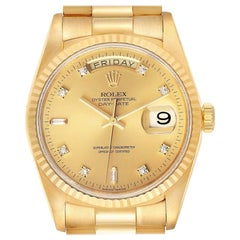 Rolex President Day-Date Yellow Gold Diamond Men's Watch 18238 Papers