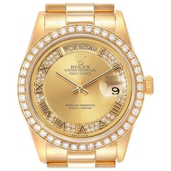 Rolex President Day Date Yellow Gold Diamond Men's Watch 18348